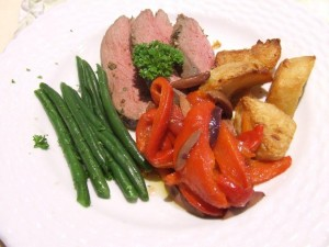 Lamb rump, grilled red capsicum, baked sebago potatoes