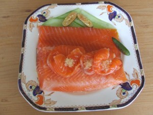 Ocean trout cured with an orange puree